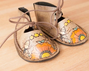 Leather Baby Booties - Bee Line Pattern - orange, coral, yellow, gold and antique black