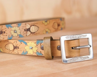 Leather Belt - Womens Belt - Handmade Belt - Belt - Bee Belt - Melissa pattern with bees and flowers in turquoise yellow brown and gold