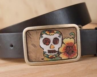 Belt Buckle - Bronze Belt Buckle - Skull belt buckle - Sugar Skull - Day of the Dead - Vesa in turquoise orange yellow red - Rectangle