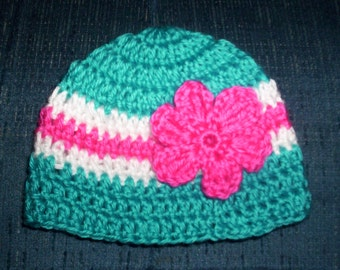Crochet Baby Hat Pink Turquoise Flower Newborn, 0 - 3 months, Ready to Ship