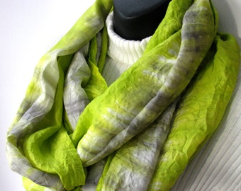 Hand Dyed Womens Infinity Scarf - Chartreuse and Silver Gray Shibori Striped - Fall Fashion Accessories Womens Scarves Silk Winter Scarf