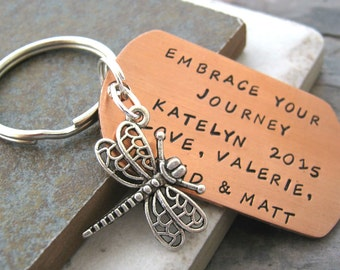 Embrace Your Journey Keychain, copper or aluminum dog tag, dragonfly charm, going away gift, graduation gift, inspiration, motivation