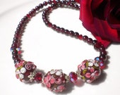 Artisan Floral Lampwork Beaded Necklace w Garnet Gemstones & Siam Swarovski Crystals