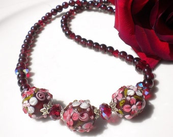 Lampwork Beaded Necklace Garnet Gemstones Siam Swarovski Crystals Floral Artisan