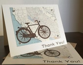 California Map and Bike - 12-Pack Screen-Printed Thank You Cards