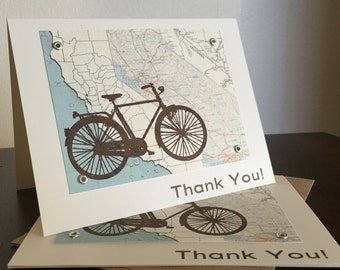 California Map and Bike - 24-Pack Screen-Printed Thank You Cards