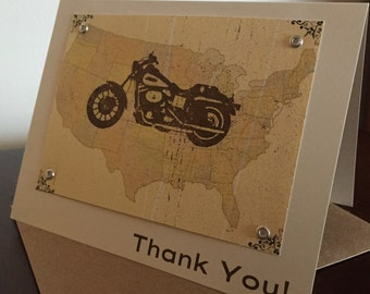 Motorcycle & Map 24-Pack Screen-Printed Thank You Cards