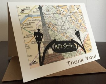 Paris Map Birthday Card - Screen-Printed Thank You Card
