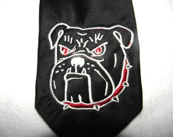 Embroidery BULLDOG TIE Mascot Classy BlackTie with Dog