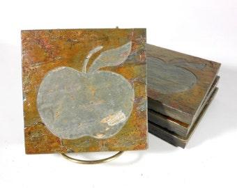Stone Coasters: Apple Coasters - 4 Etched Slate Coasters, Carved Stone Coasters, Teacher Gifts, Drink Coasters, Apple Decor Coaster Set ooak