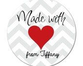 Personalized Made With Love Stickers,Gift Tags, Party Favors, Address Labels, Stickers  - Set of 12