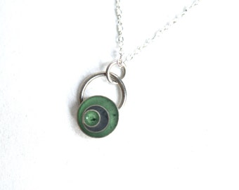 Resin and Silver Necklace, Green Necklace, Handmade Jewelry, Resin Pendant, Handmade Necklace,  Layering Necklace