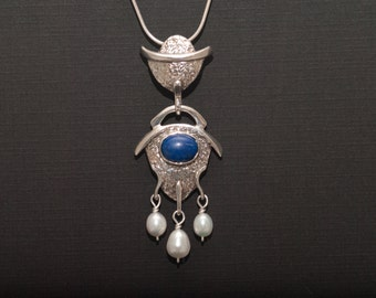 Lapis and white pearl sterling silver pendant asian/zen inspired