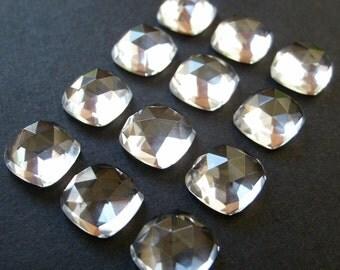 Gemstone Cabochon Clear Quartz 8mm Cushion Rose Cut FOR FOUR