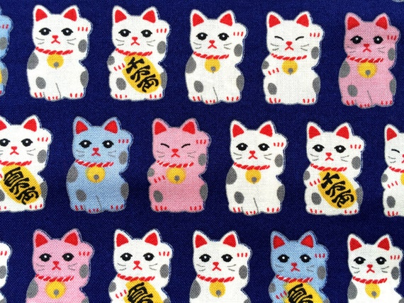 Japanese Fabric - Cotton Fabric -  1 Yard - Maneki Neko - Dark Blue - 110 cm x 100 cm (F71)