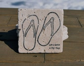 Flip Flop Natural Stone Coasters. Set of 4. Gift for Her, Beach House, Summer Decor