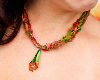 Cone Flower Necklace with Fiber Copper Enamel Orange and Lime