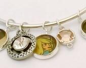 Comic Book Lovers vintage style adjustable bangle charm bracelet