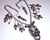 Skull Necklace and Pierced Earrings OOAK Moveable jaw bone ,mixed media assemblage SET