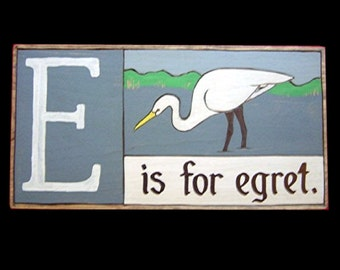 Birds, Alphabet Primers - E is for Egret