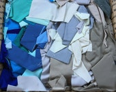 Fabric Destash no. 248 -- 5 pound box of Blue and Grey Solid Scraps