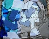 Fabric Destash no. 248 -- 5 pound box of Blue and Grey Solid Scraps