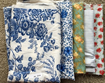 Fabric Destash no. 266 -- Various Blue Prints
