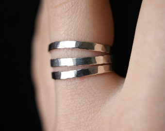 Thick Sterling Silver Stacking rings, set of 3, Sterling Silver stack rings, stackable rings, thick silver rings, hammered silver rings