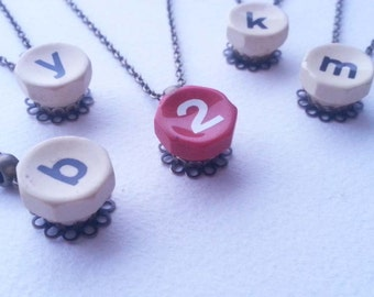 INITIAL HERE - Lowercase Antique Typewriter Key Pendant Necklace - Limited Offering