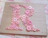 Baby Nursery Wall Art, Button LETTER R on SILK, Children Wall Art, Wall Canvas or Ready-To-Frame (frame not included)