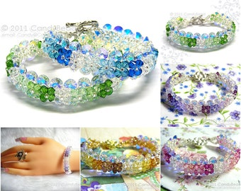 Swarovski bracelet, Bright Green Peridot, Blue Aquamarine, Purple, Topaz, Rose Shade Swarovski Crystal Bracelet by CandyBead