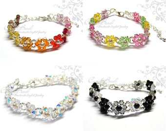 Flower Bracelet, Snow White, Jet Black and Sweet Candy Swarovski Crystals and Pearls Bracelet by CandyBead