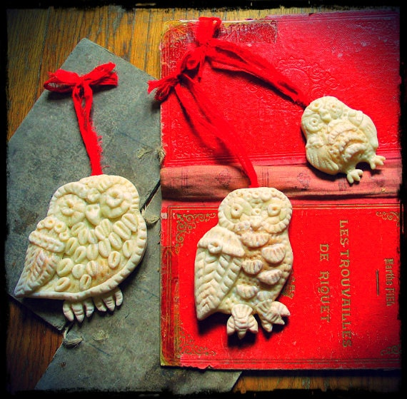 Owl Magic Ornaments Trio Christmas Yule custom order
