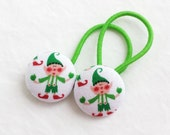 Ponytail holders - Santa's Elves - Great stocking stuffer - Winter Holiday Christmas ponytail holder -  fabric covered button hair ties