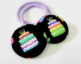 Ponytail holders - Happy Birthday Cakes  - fabric covered button hair ties