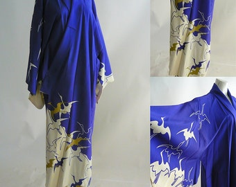 Vintage Kimono Robe Rayon CRANES in Flight Medium Floor Length Royal Blue White Japan Metallic Gold 1960s