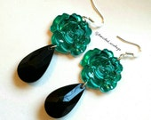 TEAL ROSE Black Teardrop Acrylic Long Dangle Statement Earrings - Evening Glam Party