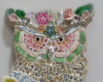 Broken china mixed media mosaic owl wall sculpture wall hanging shabby cottage chic woodland vintage retro bird