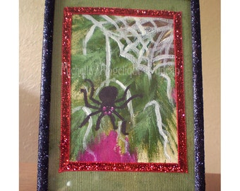 original canvas painting ACEO framed Christmas Spider web tinsel Legend decoration holiday home decor Yule Creepmas