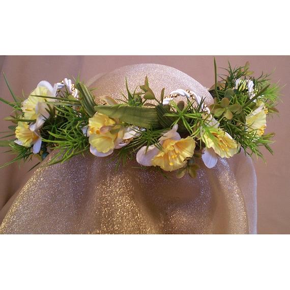 floral head wreath jonquil bridal crown womens fashion accessory Imbolc Ostara Easter