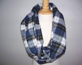 Tartan plaid flannel infinity scarf  blue green yellow