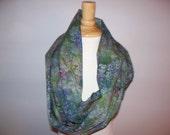 wildflower lupine batik cotton green purple blue pink infinity scarf