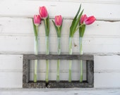Distressed Vase Upcycled Test Tubes Great Mothers day gift!