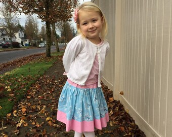 Size 3T - Boutique Twirl Skirt - SNOWMAN SPARKLE - Ooak