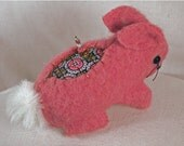 Valentine Wool Bunny Pincushion is hand stitched from felted wool sweaters
