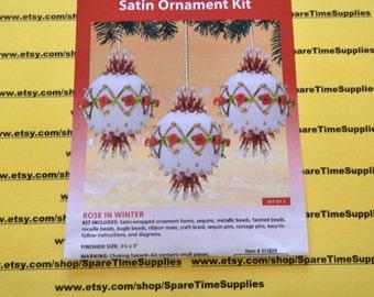 Sunrise Craft + Hobby - Satin Ornament Kit - 511829 Roses in Winter - set of 3 - 1 kit