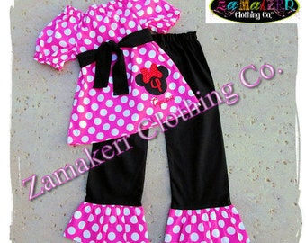Custom Boutique Girl Clothing Minnie Mouse Girl Outfit - Toddler Girl Ruffle Pant Set Size 3 6 9 12 18 24 month 2t 2 3t 3 4t 4 5t 5 6 7 8