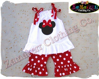 Custom Boutique Clothing Girl Minnie Mouse Outfit Red Polka Dot Pant Set Top Birthday Size 3 6 9 12 18 24 month 2t 2 3t 3 4t 4 5t 5 6 7 8