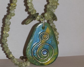 Phrenite art necklace