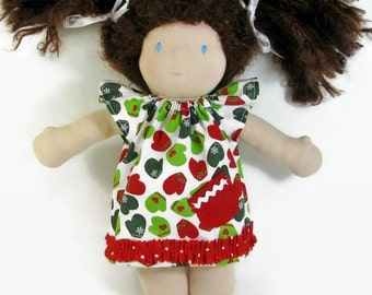 10 in Waldorf Doll Dress, Red and Green Mittens Doll Dress, Handmade Doll Dress, cotton doll dress, Waldorf dress